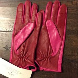 kate spade Accessories - kate spade red pink color block leather gloves nwt